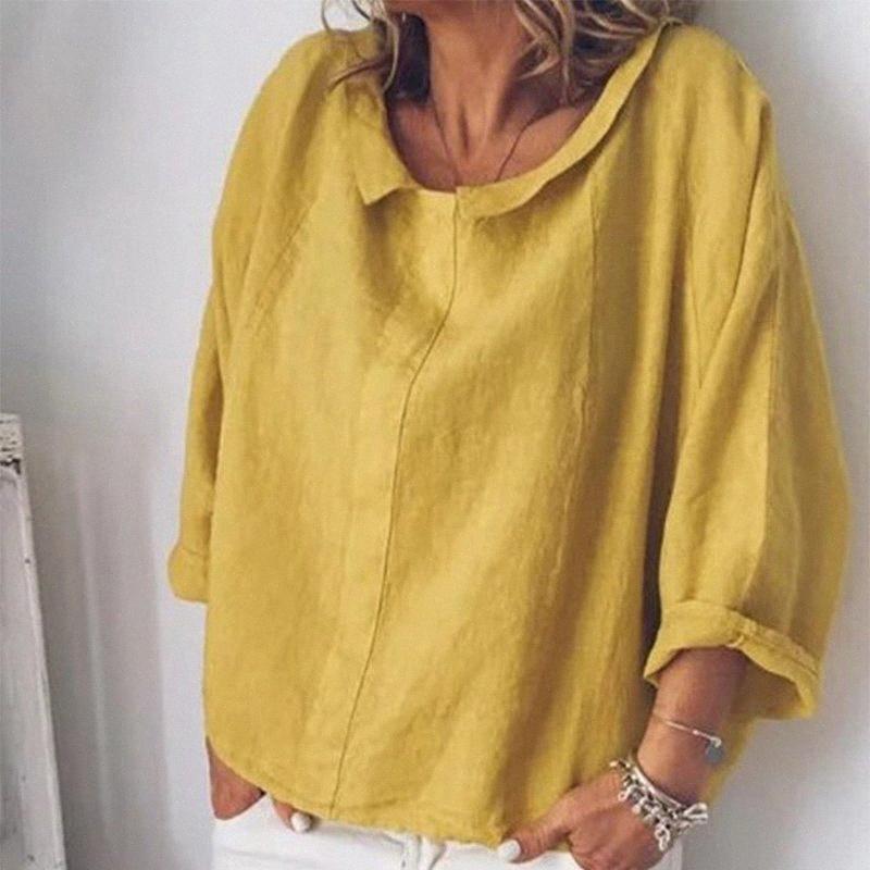 Kadın Pamuk Keten Uzun Kollu Gömlek Peter Pan Yaka Artı boyutu 5XL Düz Bayan Tops ve Bluzlar 2020 Yaz Casual Gömlek Y200622 rlAd #