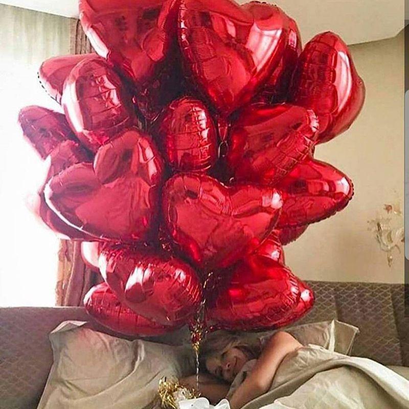 50 adet 18inch Kalp Folyo Balonlar Düğün Doğum Sevgililer Günü Partisi Kalp Aşk Helyum Balaos Dekorasyon Bebek Hediyeleri