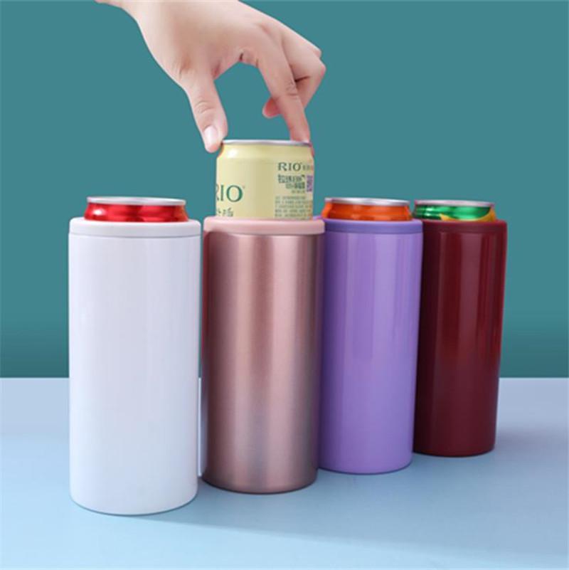 12 أوقية كولا علب مزدوجة الجدار بهلوان الفولاذ المقاوم للصدأ معزول كأس قارورة فراغ بارد أسفل زجاجات البيرة زجاجات الرياضية بسيطة