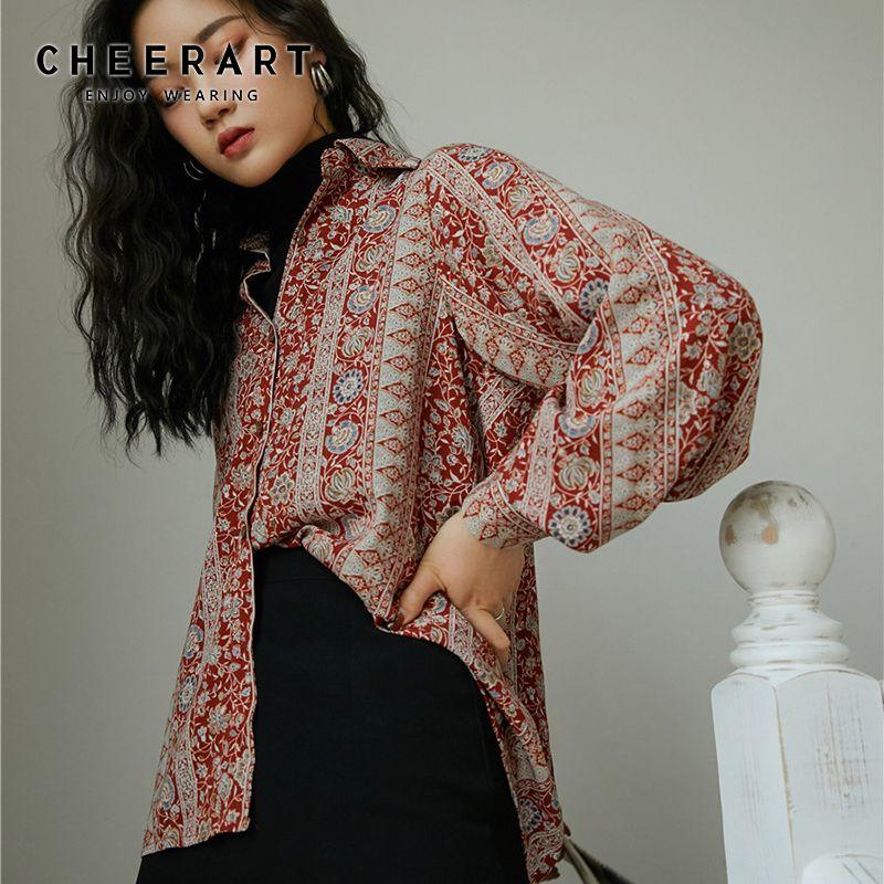 CHEERART Vintage Floral Shirts Women Red Long Sleeve Button Up Shirt Ladies Top Lantern Sleeve Blouse Korean Clothes 200923