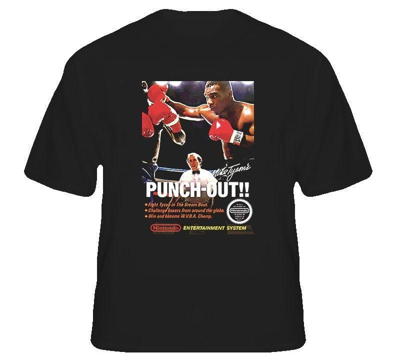 Punchout caja retro camiseta de los hombres Tee tapas de la camisa manga corta de algodón aptitud camisetas de Hip Hop de manga corta tee camiseta