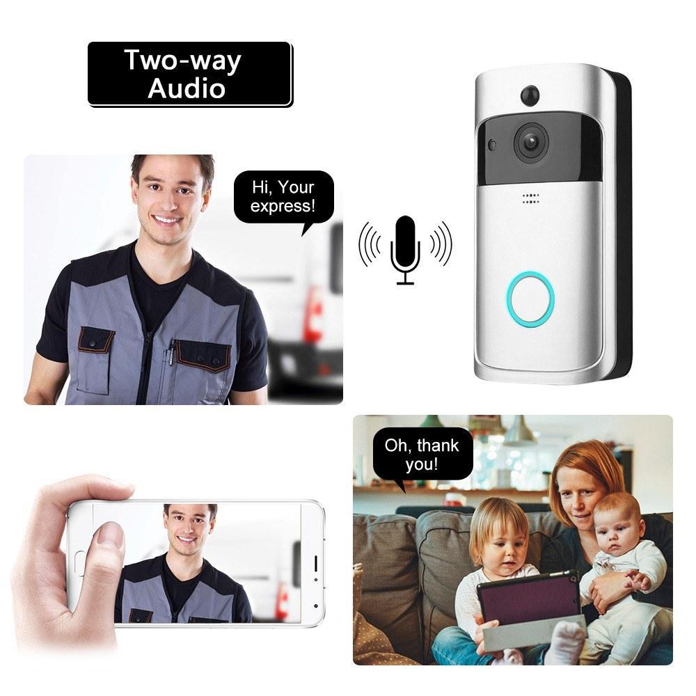 SMART WIFI-Video-Türklingel-Kamera-Visuelle Gegensprechung Nachtsicht IP-Augentürgeltür-Türsprechanlage Wireless Home-Sicherheits-Kamera 720p
