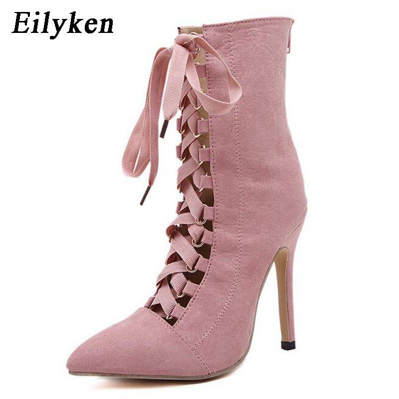 Eilyken Punk Kadınlar Bilek Boots Bahar Gladyatör Kısa Çizme strappy Lace Up Sivri Burun Stilettos Boot Sandalet 12CM Y200405 pompaları
