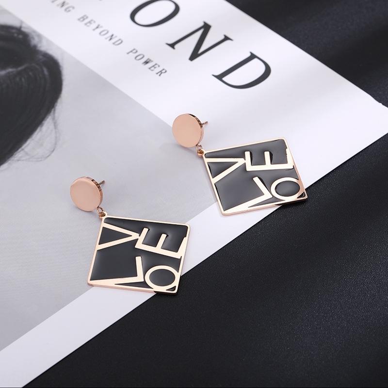 lettre carrée or titane noir boucles d'oreilles roses femmes en acier boucles d'oreilles à la mode nouvel amour tout match et bijoux Ea0jE