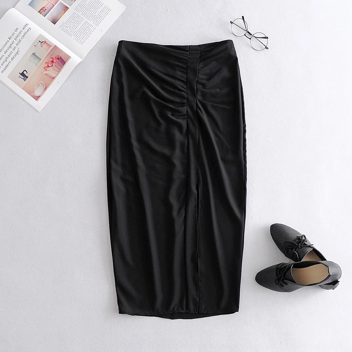 2020 ropa nueva F7pB4 mitad de la longitud de la cintura alta ZBhQE Q3123-viento rectos de las mujeres plisadas verano de las mujeres del verano de la falda recta dividida