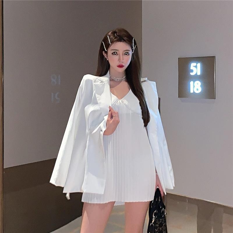 Escudo vestido plisado V-cuello del verano del nuevo estilo de dos piezas de la alta sociedad 9BPhS vestido zpKoW juego de las mujeres + suelta chaqueta para las niñas