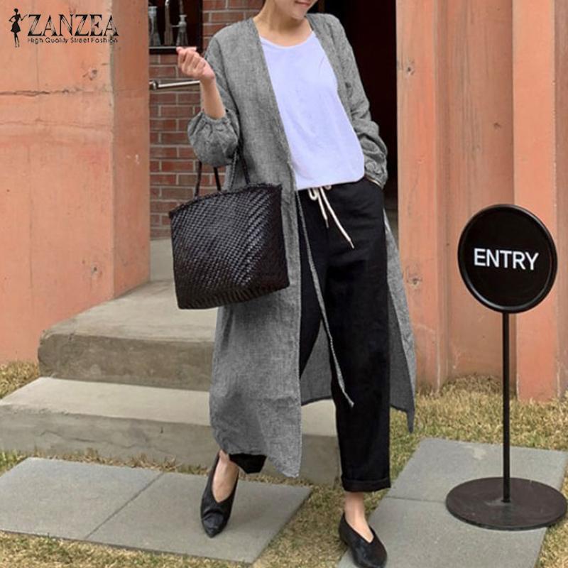 2020 rebecas de la manera comprueban ZANZEA otoño de tela escocesa largas de la mujer de la blusa camisas ata para arriba el manga de soplo ocasional femenina de la túnica Tops más el tamaño
