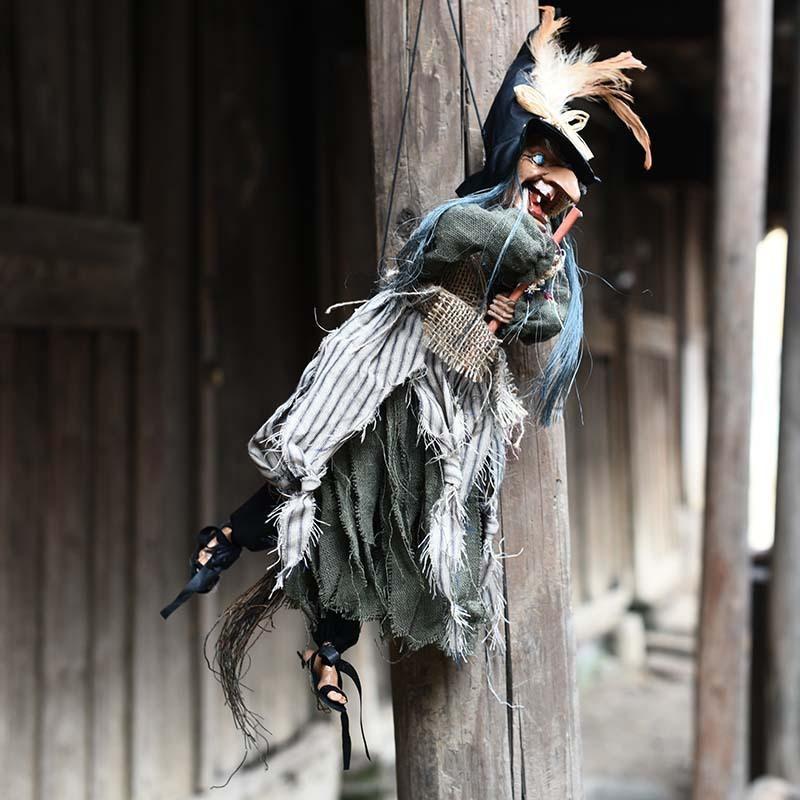 Partito della strega di Halloween decorazioni a sospensione Giocattoli d'attaccatura elettrica del puntello di Haunted House Bar Toy Voice Control Hanging fantasma DecorPSC90 T200827
