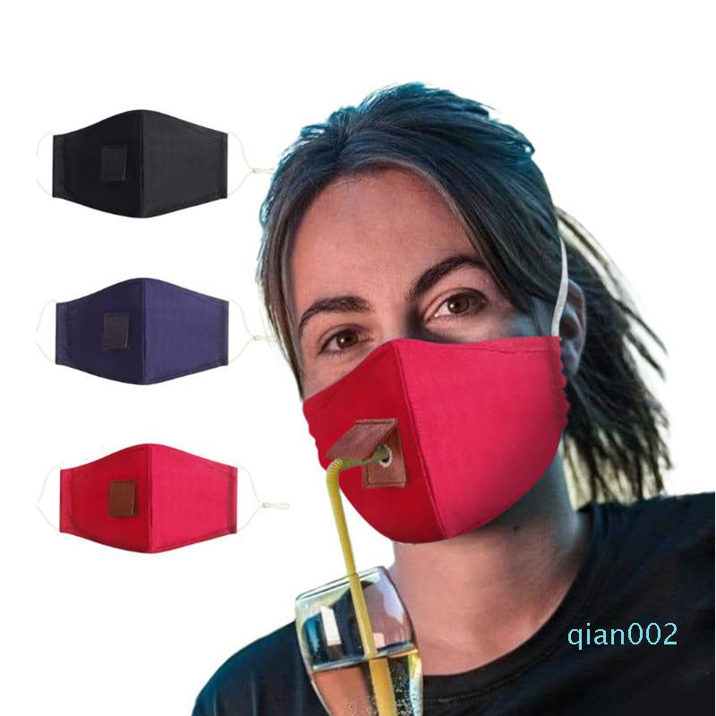 Регулируемый двойной слой хлопчатобумажной ткани маска для лица Маска Стро пыле Напиток Маска Невидимый Стро многоразовых Маски YYA146