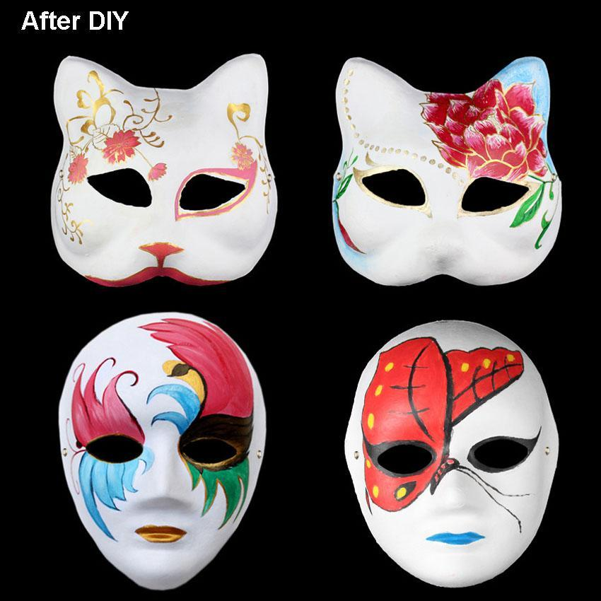 Masques bricolage papier mascarade Masques Halloween Party cosplay Cartoon Maske bal de carnaval Face Femmes Carnaval Prop DHF832 Masque