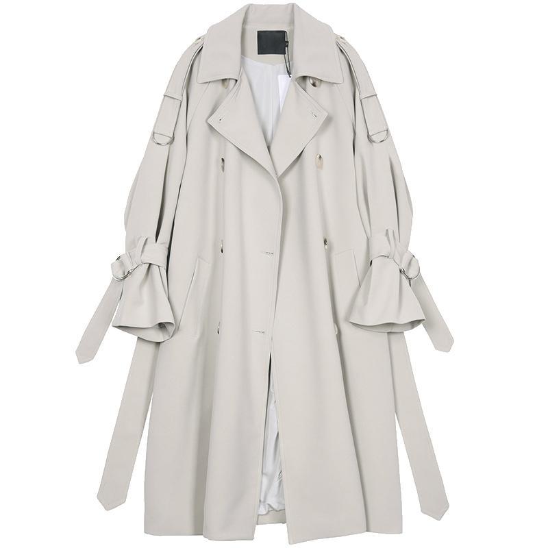 Lautaro Langer Trenchcoat für Frauen Raglanhülsenlänge Zweireiher Frauen Kleidung 2020 koreanische Art und Weise löst plus Mantel 7XL LJ200903