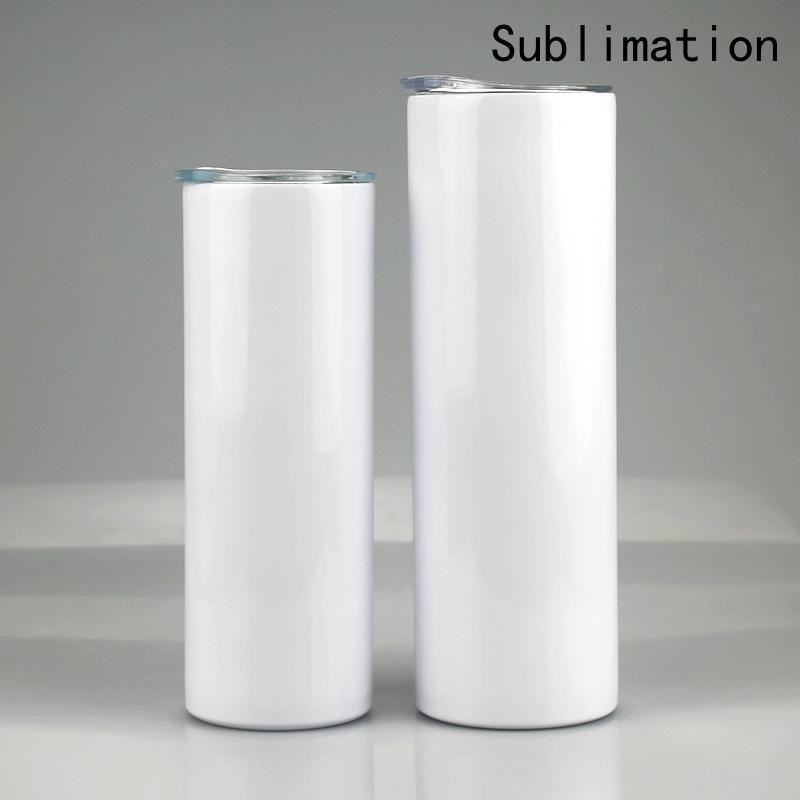 20oz 30oz 승화 공백 스트레이트 스키니 텀블러 스테인레스 스틸 빈 흰색 스키니 컵 뚜껑 밀짚 실린더 물병 커피