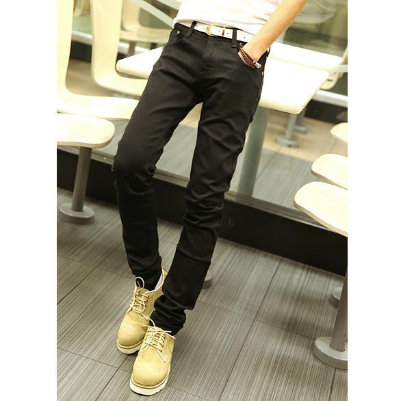 sonbahar erkek yeni moda saf renk pantolon, moda erkek siyah Döşeme kot için Burst