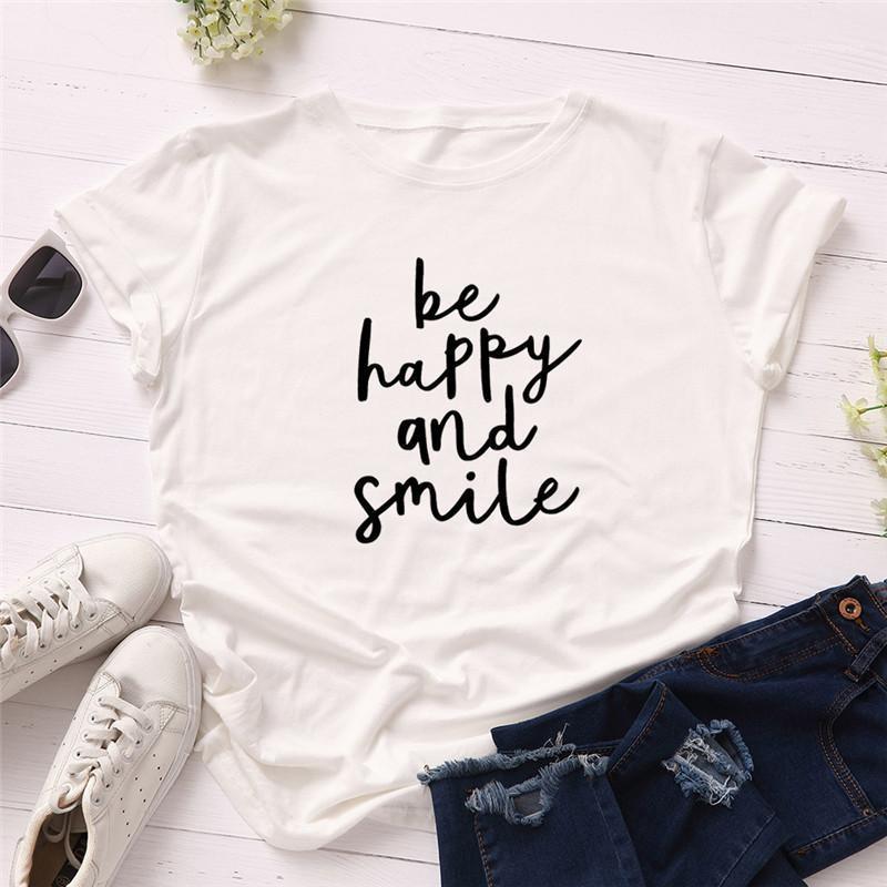 Счастливый и улыбка Письмо Printed Tops Женский Crew Neck Одежда Летняя женская дизайнер Tshirts коротким рукавом Be