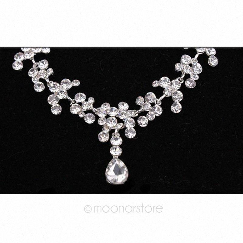 Venta al por mayor nueva llegada WaterDrop pendiente del encanto del collar plateado elegante novia de la boda del Rhinestone de la gota de agua cristalina joyería Set C1MPJ139 Jp2r #