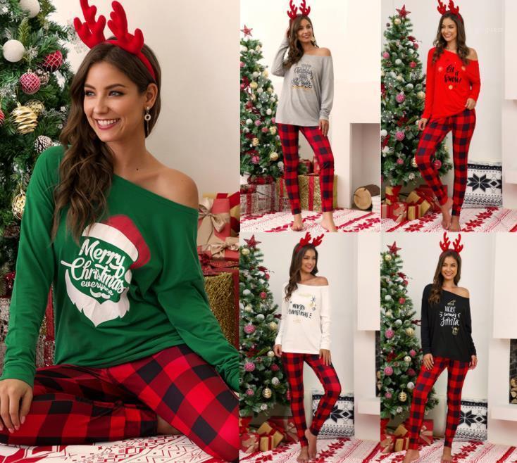 Designer Palaid stampata delle donne Due pezzi pantaloni casual a manica lunga Slash Neck T Natale Donne Due set di pezzi di moda