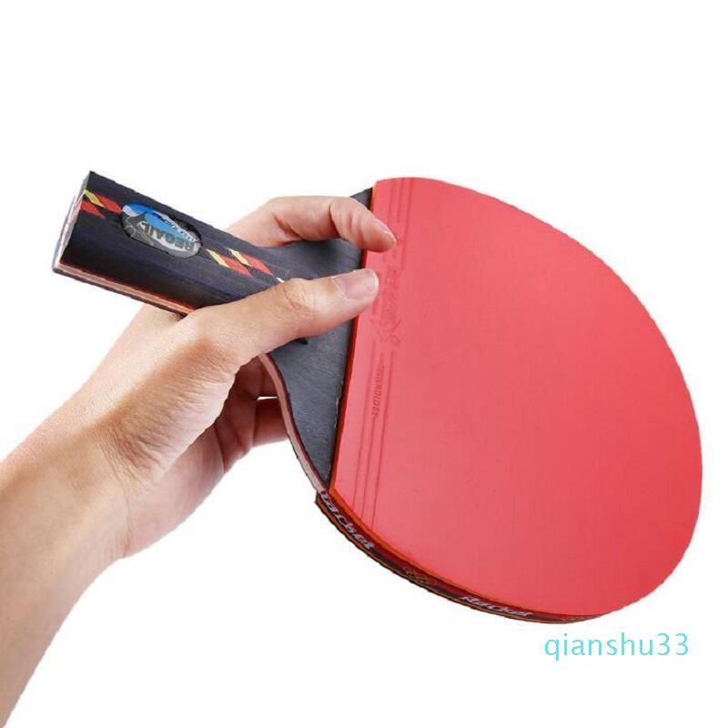 Al por mayor-mango largo Agitar a mano Grip Tabla raqueta de tenis paleta de ping pong espinillas En el caucho del ping-pong de la raqueta con la raqueta de la bolsa