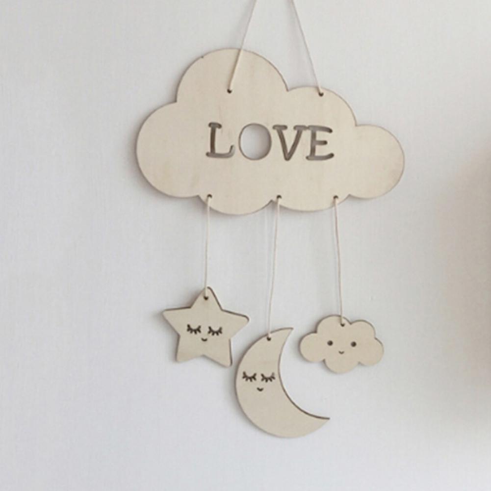 Pingente Novidade Decoração Dream Catcher quarto do bebê de madeira Moon Star Ornamentos