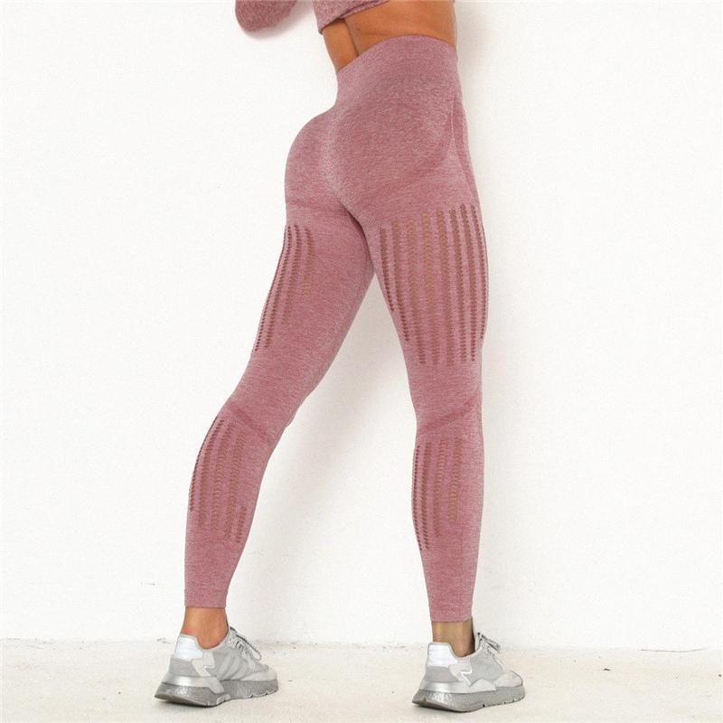 De cintura alta de yoga polainas hueco yoga de la aptitud Pantalones empuje hacia arriba gimnasio de deportes de los pantalones de entrenamiento sin costura polainas Deportes 7HGr #