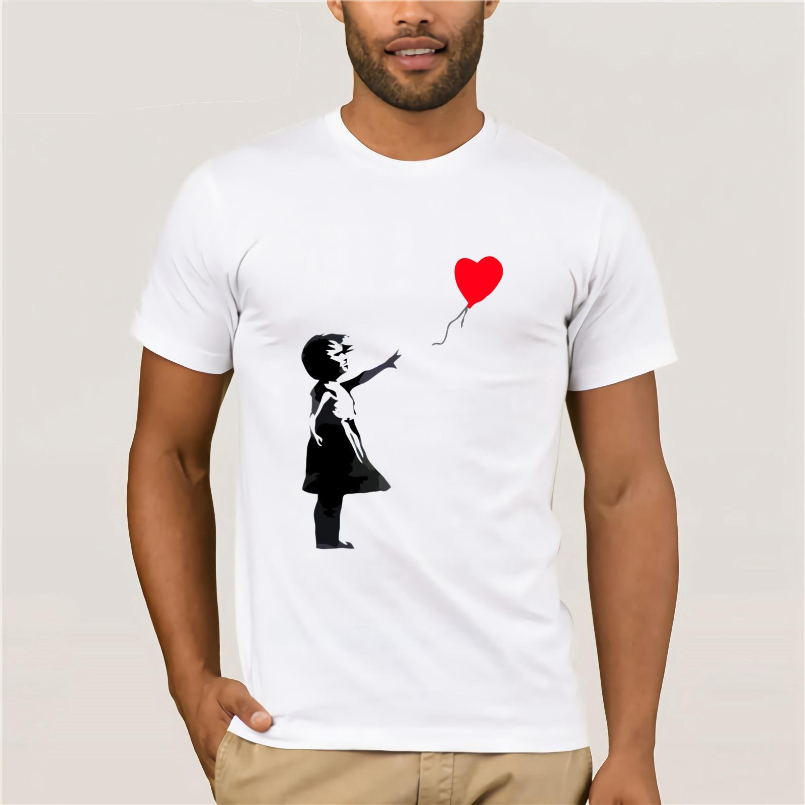 Banksy Kız Balon Gömlek Kişilik 2020 Erkek Otantik Tişört Temel Katı Trend Tişört Kısa Kollu Tees İçin Erkekler Üstler