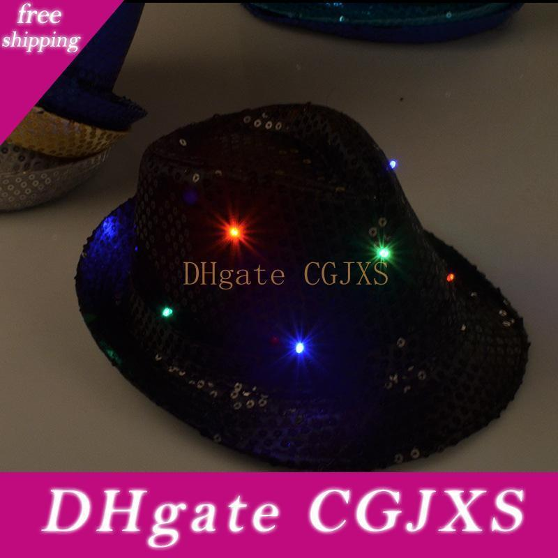 Led Flash Sequins Hat Adults Children Hip -Hop Light Up Jazz Cap Hats Dance Club Event Party Birthday Stage Perform Props Za1560