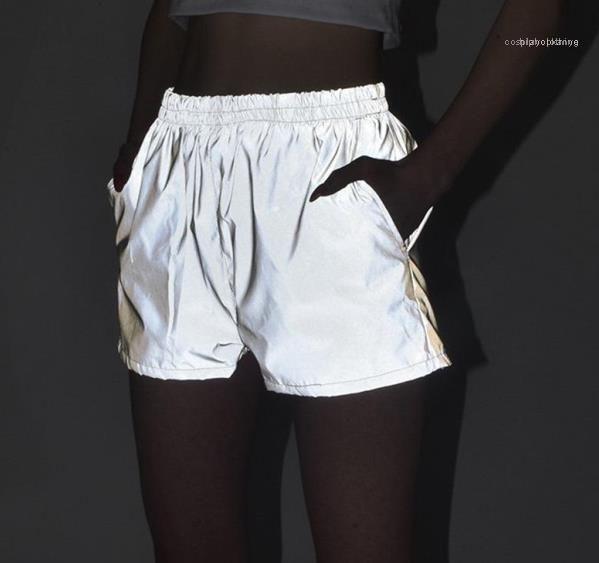 Casual Hiphop Skate cintura alta Shorts Casual Esportes Roupas 3M reflexiva Mulheres Shorts de Verão Grey