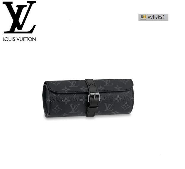 vvtisks1 K239 M43385 3 WATCH CASE Eclipse Canvas MEN REAL LEATHER LONG WALLET CHAIN WALLETS COMPACT PURSE CLUTCHES EVENING KEY CARD HOLDERS