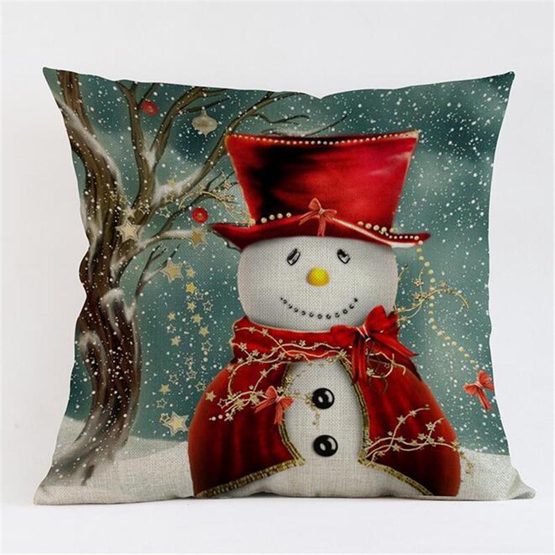 Cojín Feliz Navidad Cojín de Navidad muñeco de nieve decorativo Ambiente Square Throw Pillow caso 45x45cm para el sofá Decoración