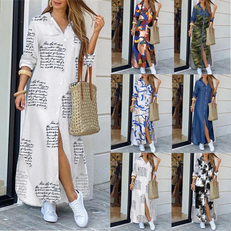 Automne Maxi Robes Pour Femmes Femmes Bouton Down Long Shirt Robe Chaîne Imprimé Robe De Cheval Col Fête Casual Manches à manches longues surdimensionnées