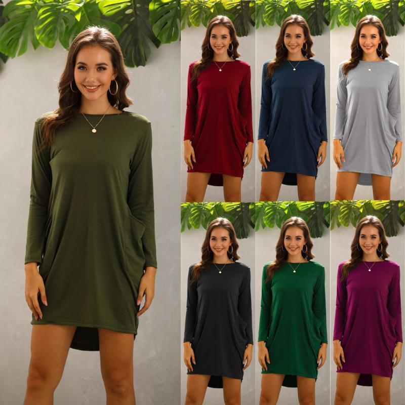 Plus Size Women's Autumn and Winter Loose Pocket Long Sleeve Dress Women Dress