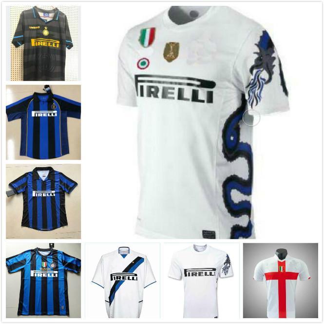 Retro Inter Fußball-Trikots Ronaldo Milito Baggio Crespo Vieri Sneijder Zanetti Vieira Batistuta Jahrgang Milan Kit klassische Hemd