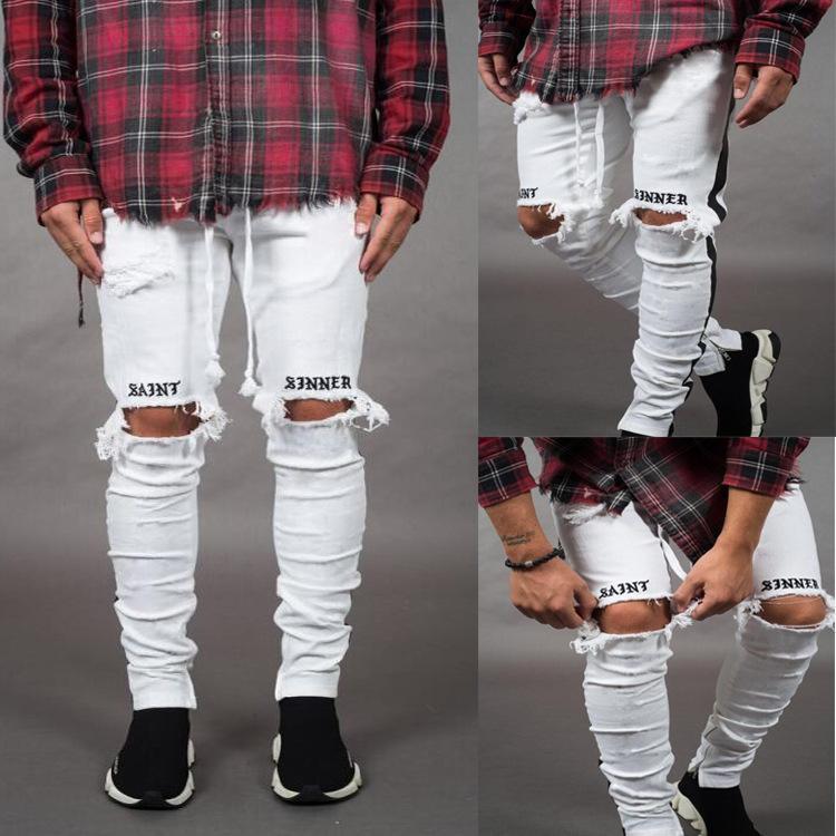 Pantalon Jean Hombre-Modus Homme gebrochene Pantalone Mezclilla Hombre-Seite Gurtband Hip Hop Jeans de Black White Jeans Männer