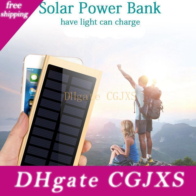 Ultra Thin Solar Power Bank 20000mah External Battery Quick Charger Dual Usb Powerbank Portable Solar Panel With Flash Light