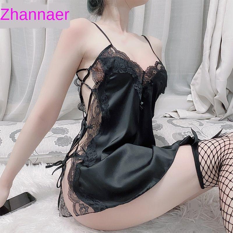 Menaier seksi iç çamaşırı dantel Sling İç pijama askı gecelik kadın seksi sevimli küçük göğüs şeffaf dantel tutkusu kısa p bölmek