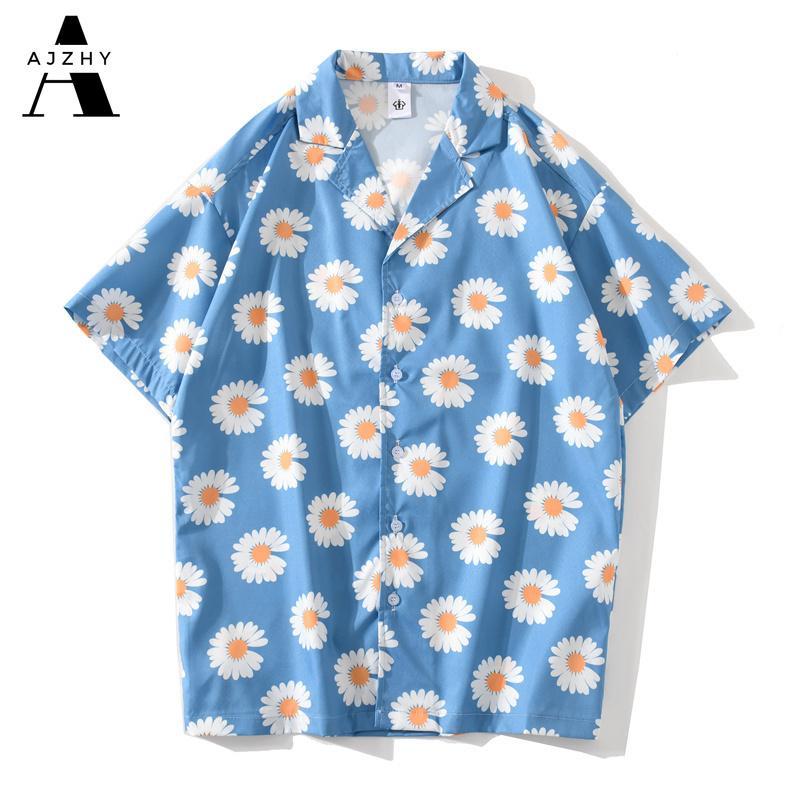 Fleur de marguerite Imprimer Hip Hop manches courtes Chemises de plage d'été Streetwear Chemises hawaïennes hommes Casual Harajuku Aloha shirt pour les hommes 200925