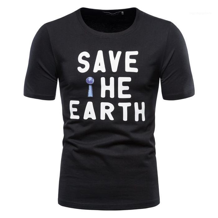T-shirt manches Sauvez la Terre d'été O-cou Mode T-shirt Casual Male T-shirts pour hommes Lettre courte