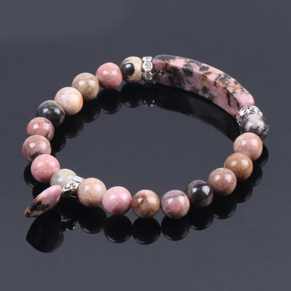 Rosso naturale della pietra di gemma Bangles Linea Rhodonite cuore di amore di Montaggio Perle di guarigione Bracciali rettangolo Stones per i monili delle donne
