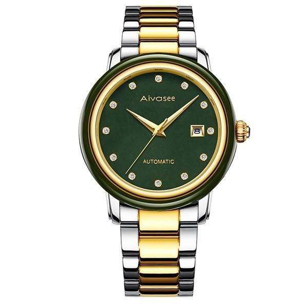 Новые бизнес-часы мужские Джейд Творческий Мужские часы Мужской часы Механические Автоматические Jade Календарь Hollow Личность мальчика Часы 0922