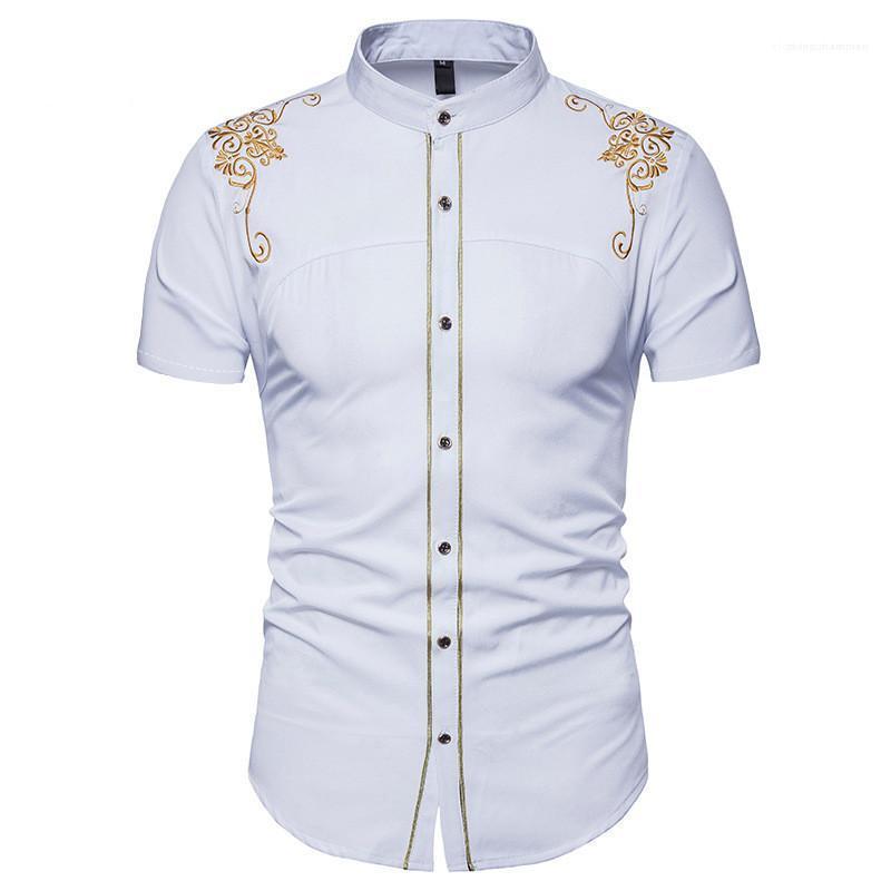 Manches d'été Hauts Vêtements pour hommes occasionnels broderie couleur unie Robe Hommes Chemises imprimé floral court