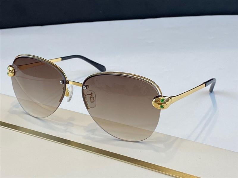 Nueva forma de diseño de moda 6121 UV400 Metal diseño marco serpentino protector ligero medio clásico Gafas de sol Cabeza Gafas Pila Pilo Nirm