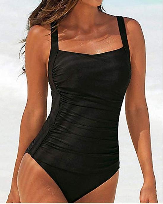 costume da bagno 2020 nuovi sexy di un pezzo delle donne tracolla di colore del costume da bagno Tracolla solido