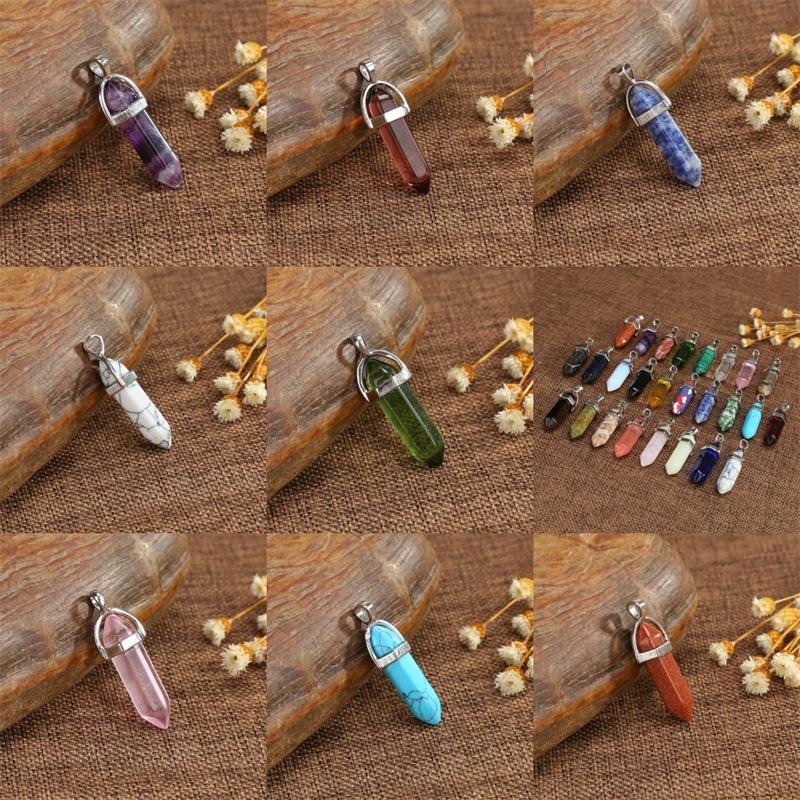Los cristales curativos forman los colgantes de piedra natural ágata columna hexagonal joyería colgante de collar de regalo Marbling Accesorio creada por el hombre 1 4LG B2
