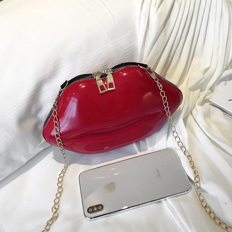 Amazon hot sell lip shape bag women Fashion Lips Pu Chain Purse Shoulder Bag Handbag Womens Crossbody Mini Messenger Bag