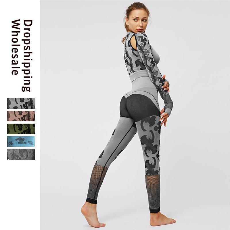 Тренировка Одежда для женщин печати Спортивная женщина Фитнес Спортивный костюм Женский Леггинсы Top Gym Workout Set Бег Femme Winter T200811