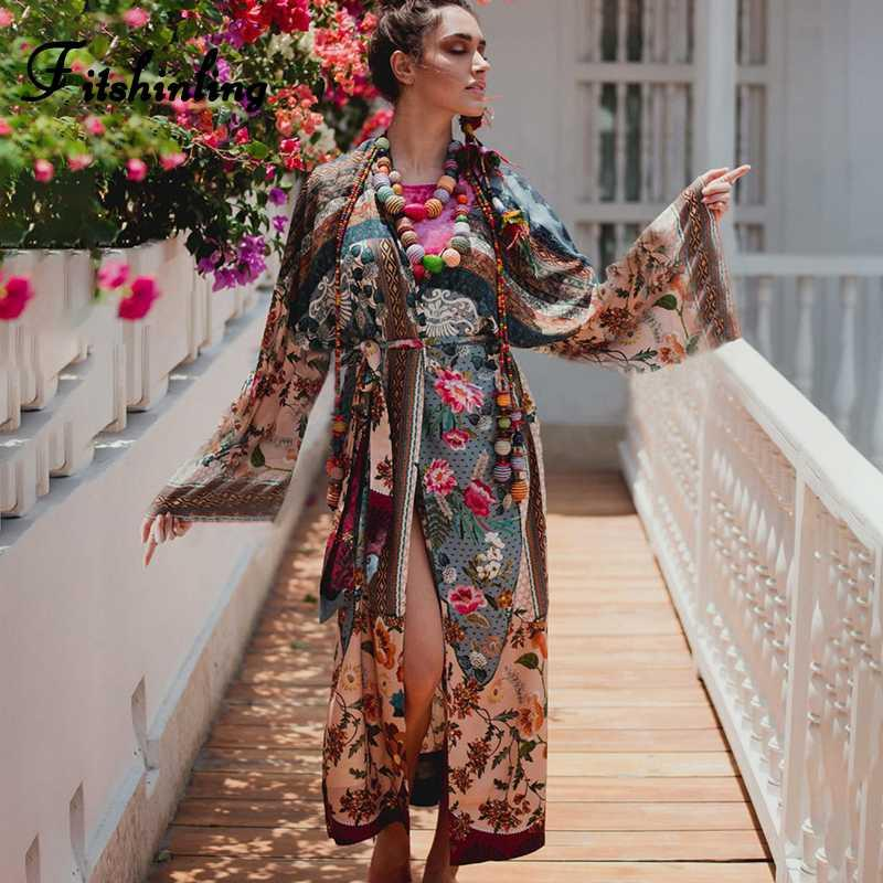 Fitshinling Ethic print floral vintage kimono holiday flare sleeve beach cover up with sashes 2020 slit sexy boho long cardigan