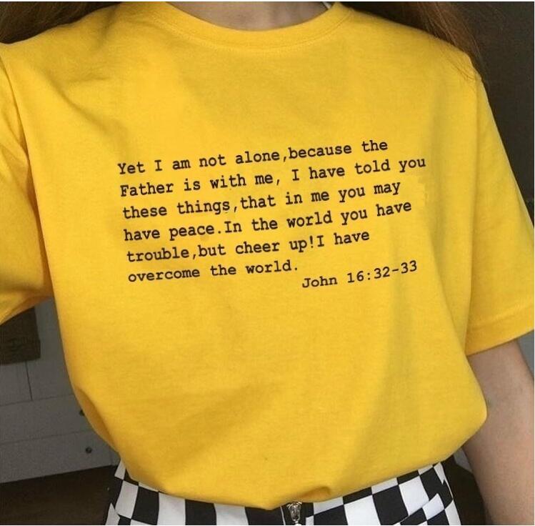 Camiseta de las mujeres Anímalo He superado el mundo Tshirt Women Christian Jesus Bible Casual Fe Inspire Cotton Summer Tops Drop Ship