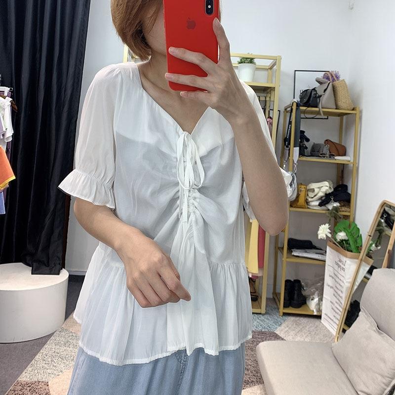 PvJpG [Bizheng] 2020 Verão novo estilo coreano emagrecimento solta cordão de manga curta Camisa Zipper babados de Mulheres 3509