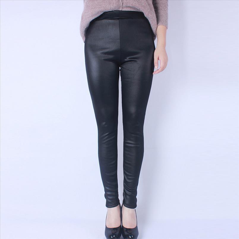 Bayanlar Artı boyutu Sahte Deri Tozluklar Gotik Parlak Pu Legging Siyah İnce Katı Sıska Kalem Pantolon Kadınlar Yüksek Elastik jeggings LR1