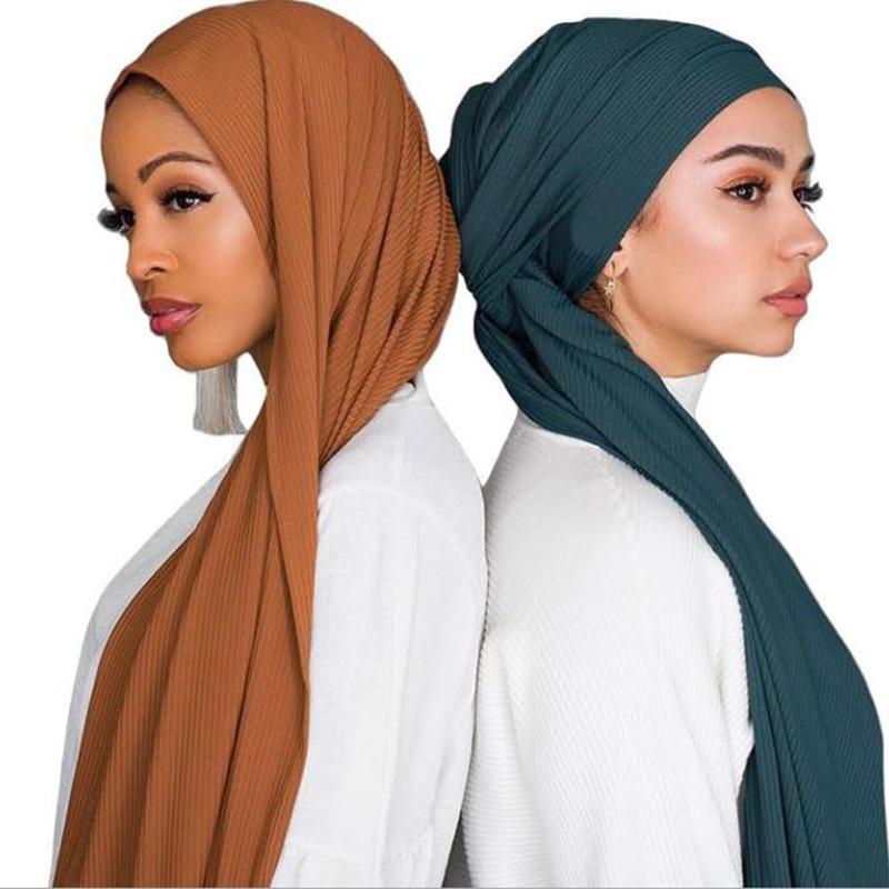 1 adet Jersey kıvrımlı kırışıklık hijap atkı pamuklu düz elastikiyet şallar hijab uzun müslüman baş sarma eşarplar kırışık / atkı