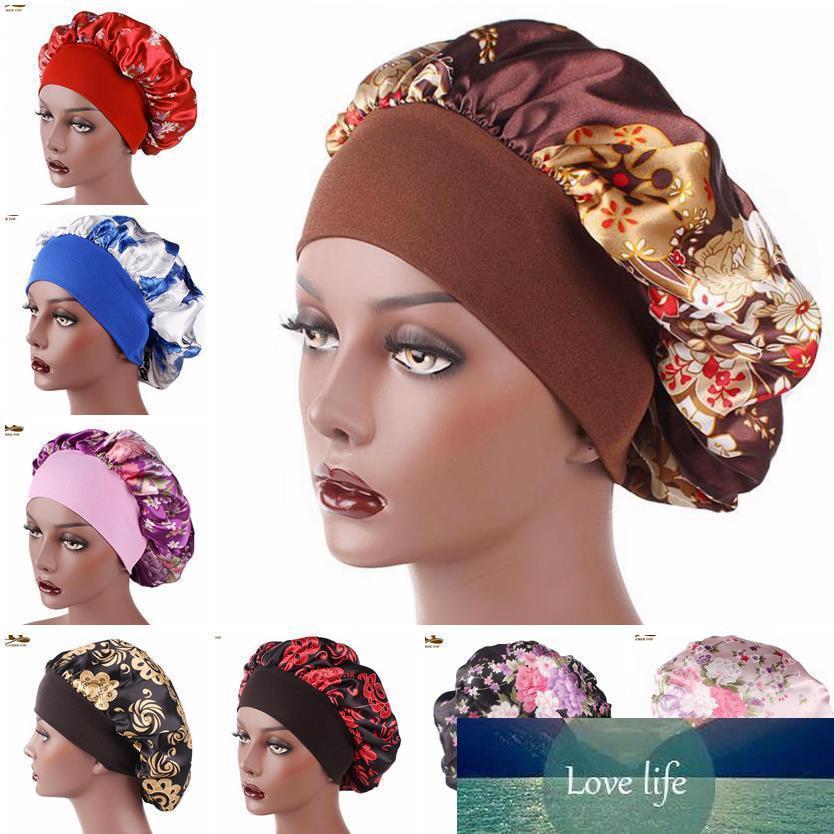New Fshion Women Satin Night Sleep Cap Hair Bonnet Hat Silk Head Cover Wide Elastic Band Shower Cap